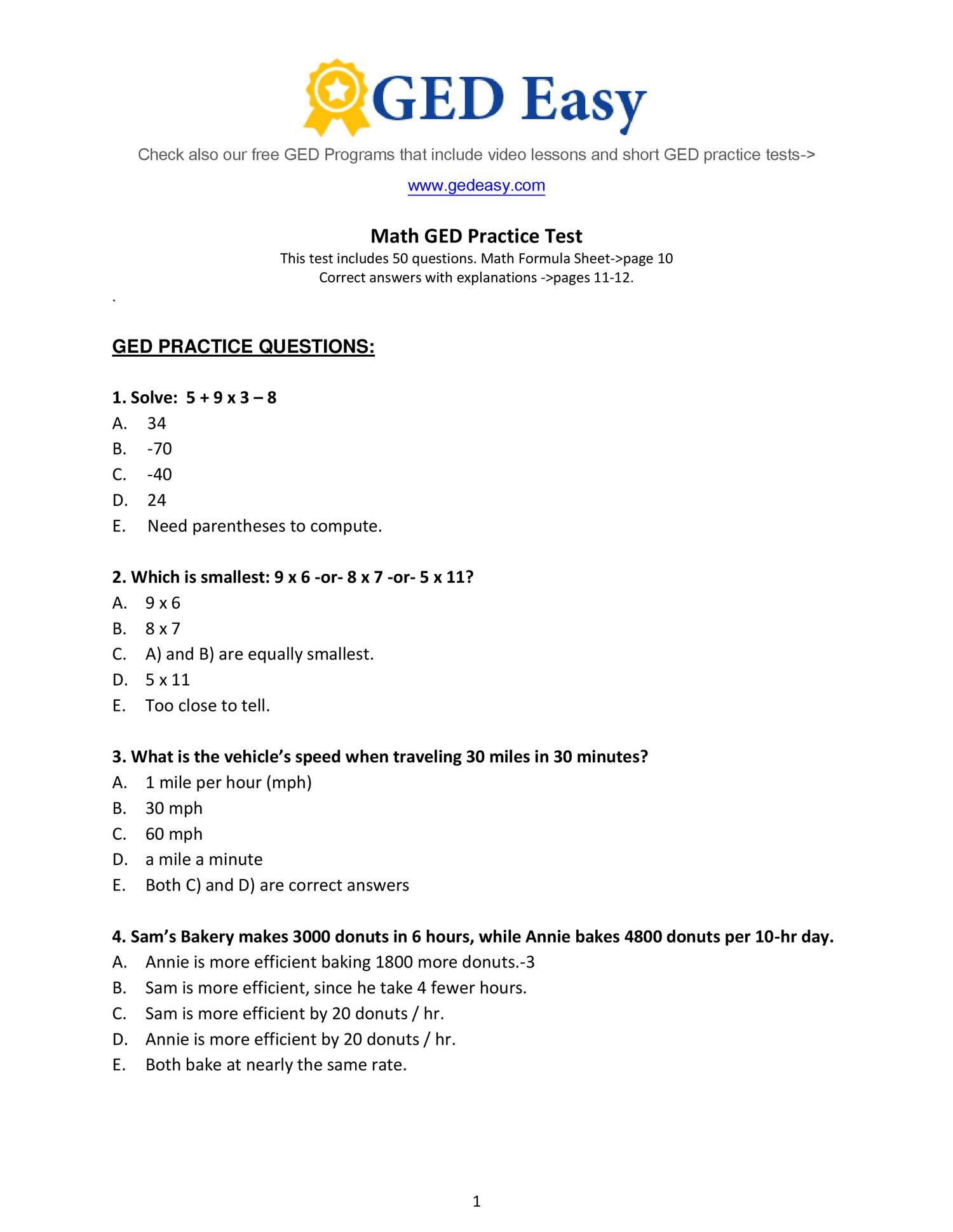Pdf Printable Ged Practice Book | Wiring Library | Free Printable Ged Science Worksheets