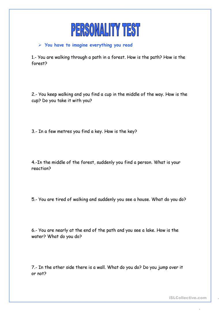 Personality Test Worksheet - Free Esl Printable Worksheets Made | Personality Quiz Printable Worksheet
