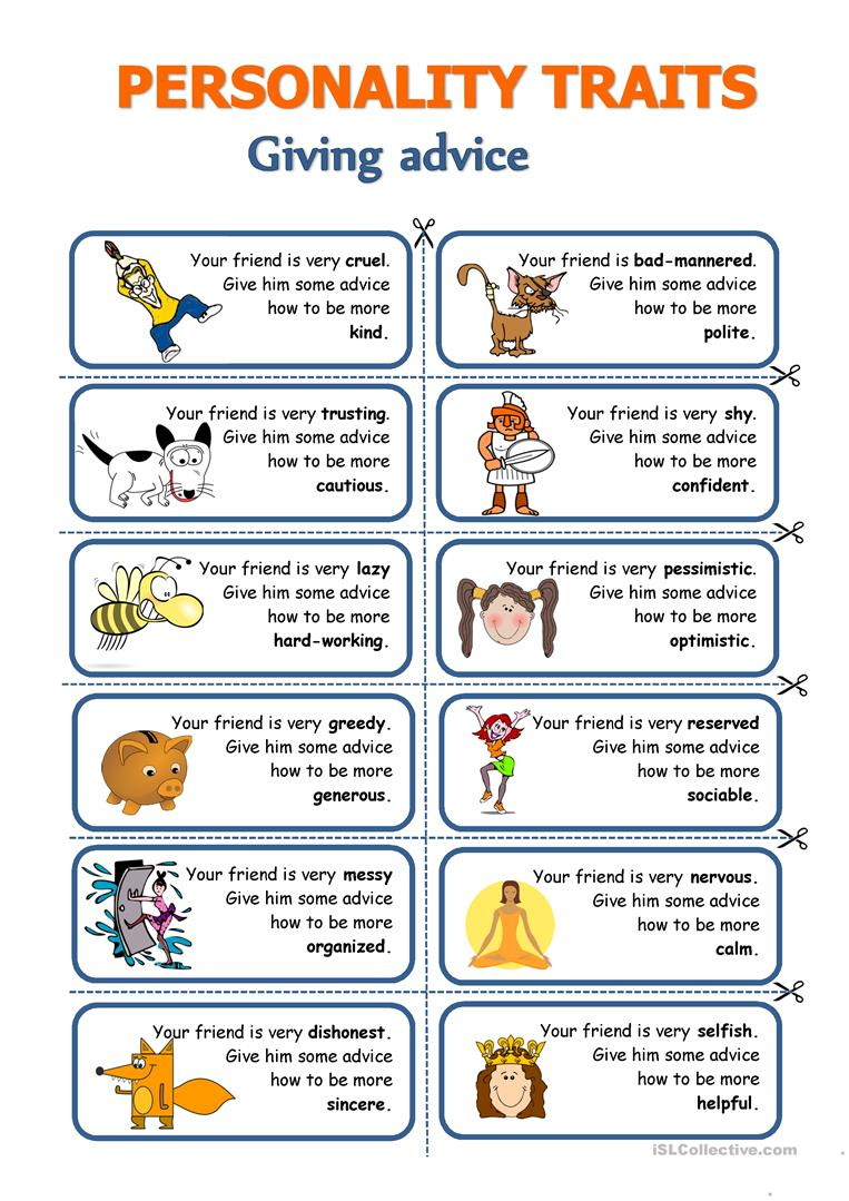Personality Traits - Giving Advice Worksheet - Free Esl Printable | Printable Character Traits Worksheets