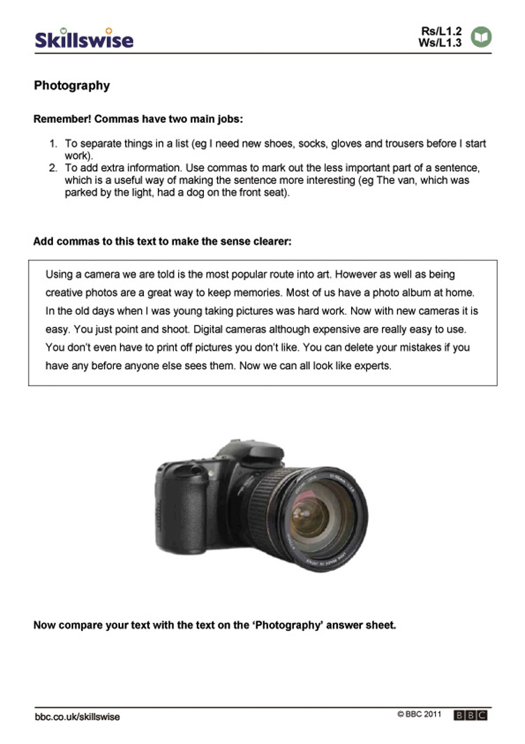 Photography | Printable Photography Worksheets