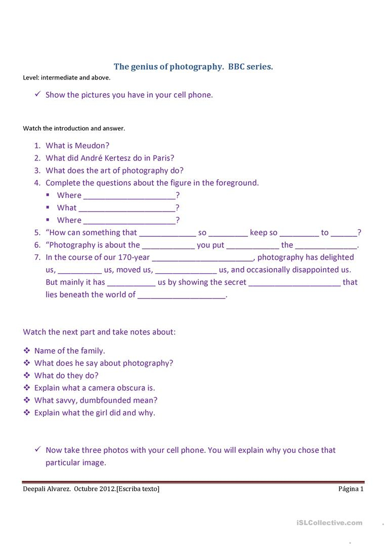 Photography Worksheet - Free Esl Printable Worksheets Madeteachers | Printable Photography Worksheets
