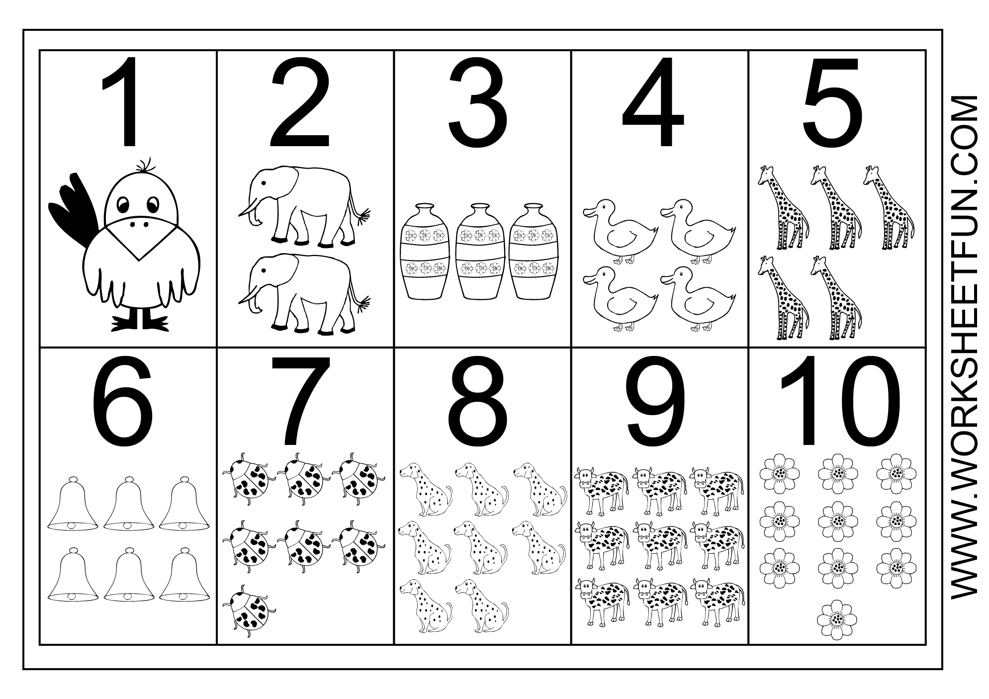 Picture Number Chart 1-10 | Printable Worksheets | Numbers Preschool | Printable Worksheets For Preschoolers On Numbers 1 10