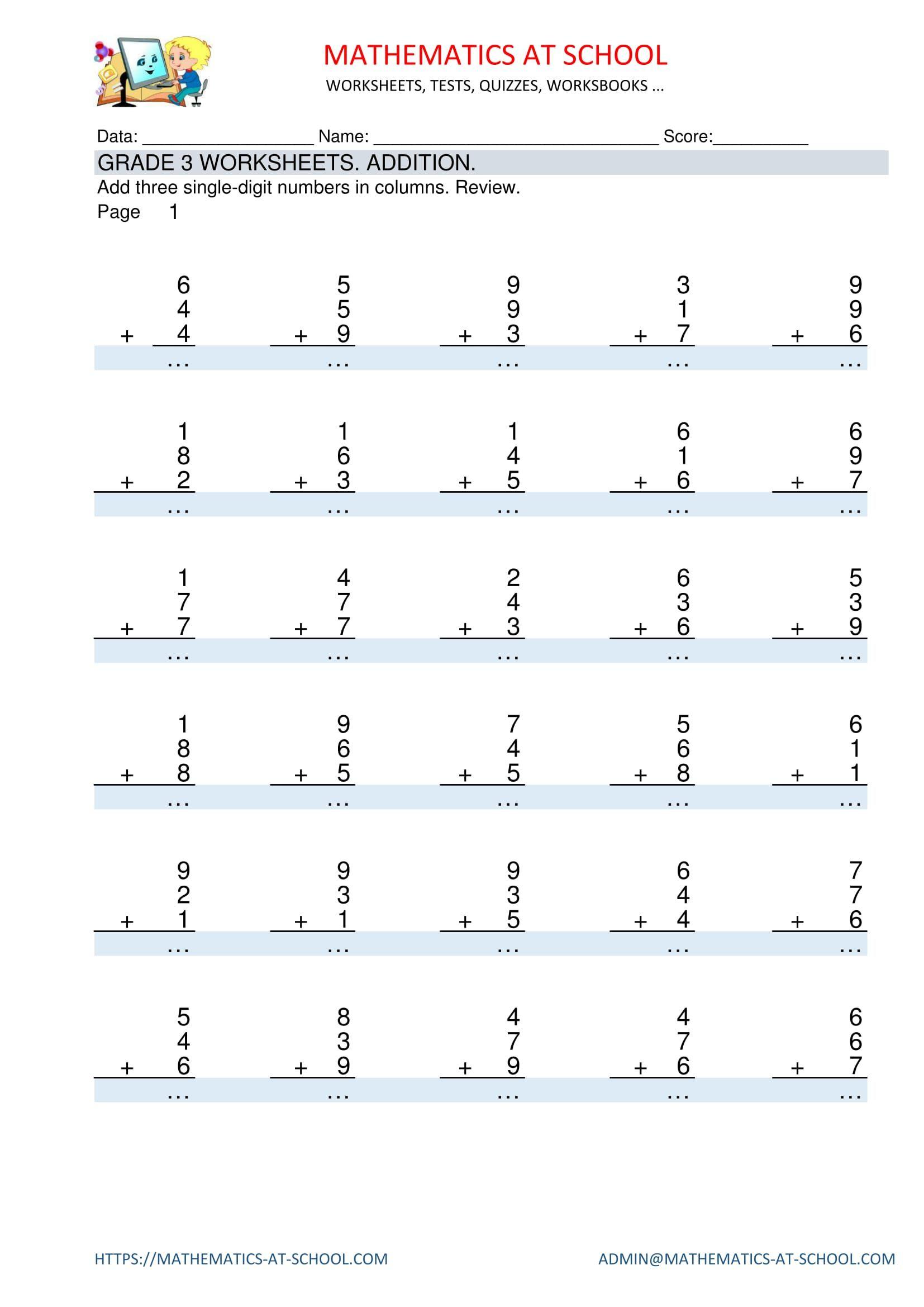 Pinmathematics School On Grade 3 Maths Worksheets And Free   Grade 3 Maths Worksheets Printable