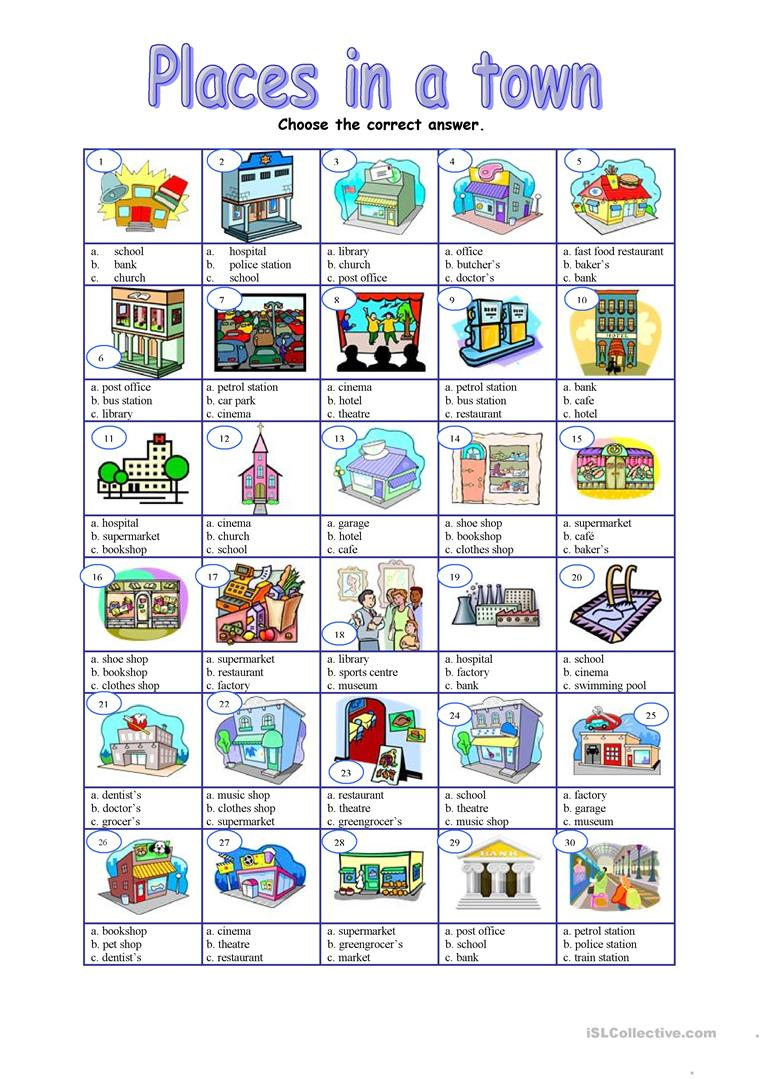 Places In A Town - Multiple Worksheet - Free Esl Printable | Places In Town Worksheets Printables