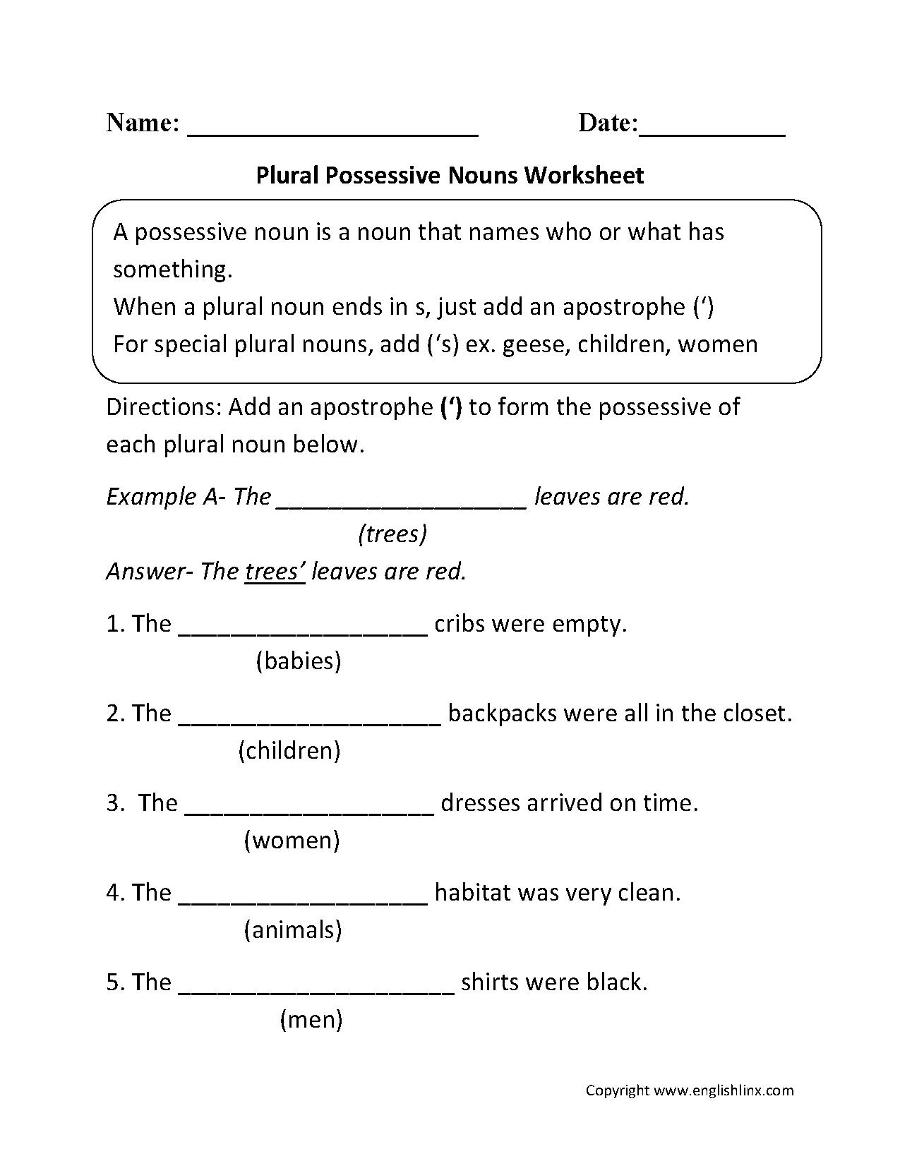 Plural Possessive Nouns Worksheets … | 4Th Grade | Posse… | Possessive Nouns Printable Worksheets