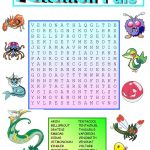Pokemon Wordsearch With Key Worksheet   Free Esl Printable | Pokemon Worksheets Printable