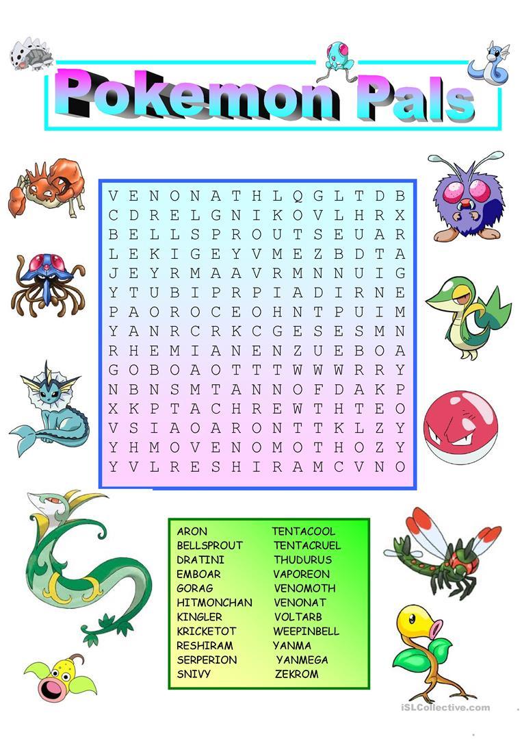 Pokemon Wordsearch With Key Worksheet - Free Esl Printable | Pokemon Worksheets Printable
