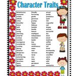 Posters Character Traits Adjectives   Google Search | Poster | Printable Character Traits Worksheets