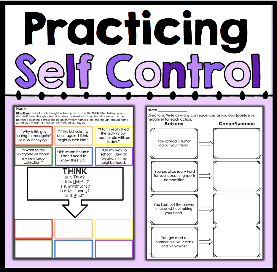 Practicing Self Control | Counselorchelsey On Tpt | Counseling | Free Printable Self Control Worksheets