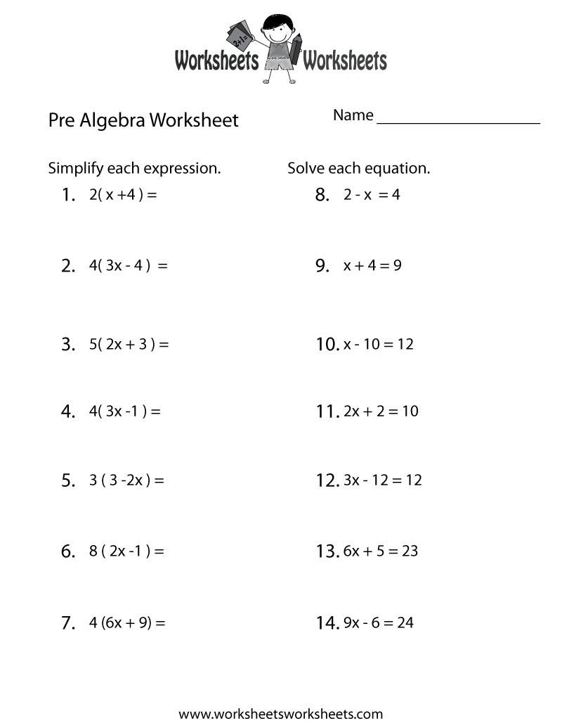 Pre-Algebra Review Worksheet - Free Printable Educational Worksheet   Free Printable Math Worksheets Pre Algebra
