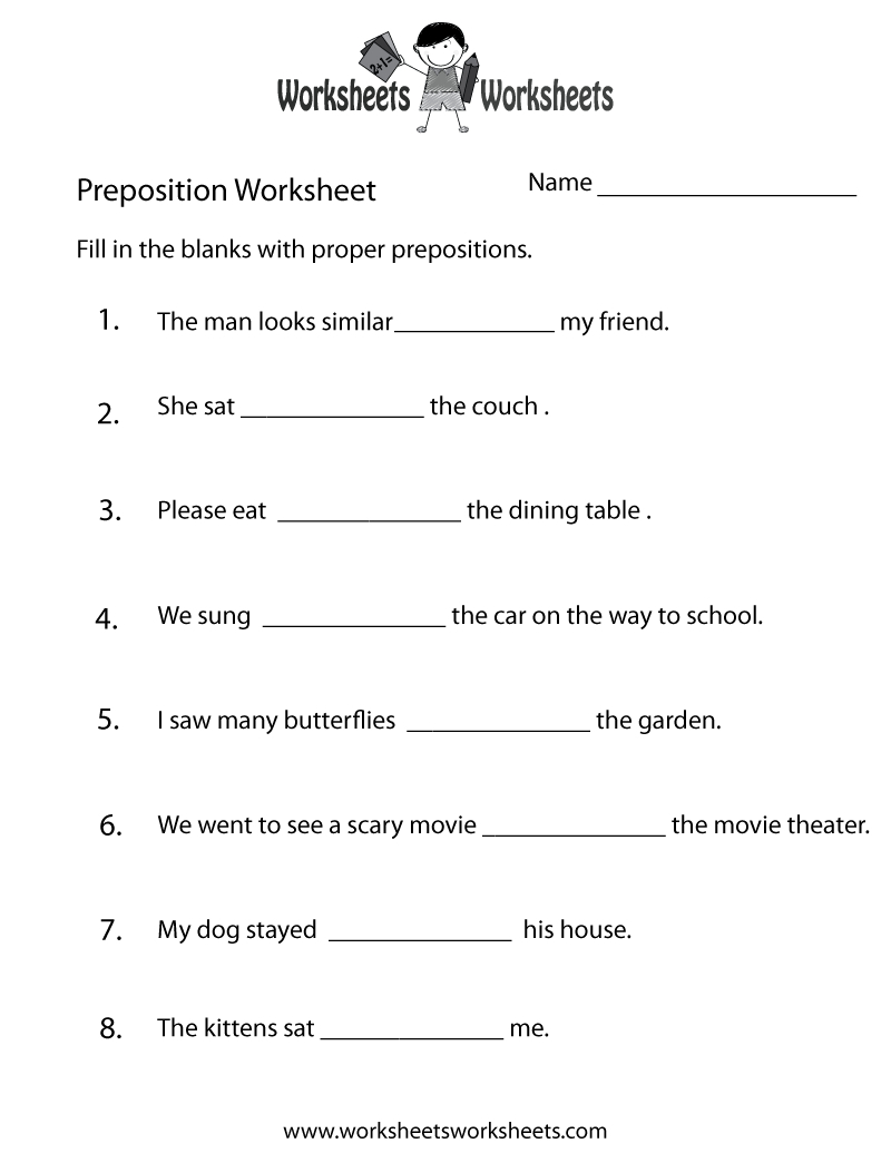 Preposition Worksheets | Two Ways To Print This Free Prepositions | Free Printable Worksheets For Prepositions