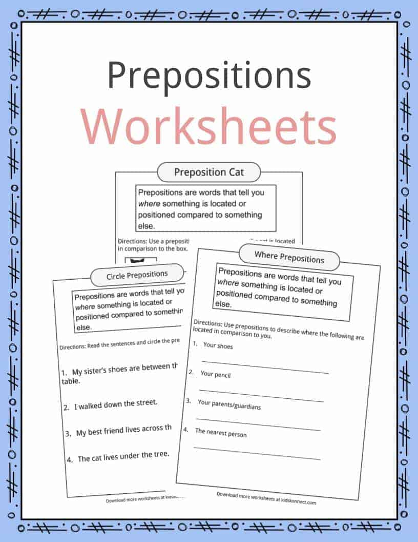 Prepositions Definition, Worksheets & Examples In Text For Kids | Free Printable Worksheets For Prepositions