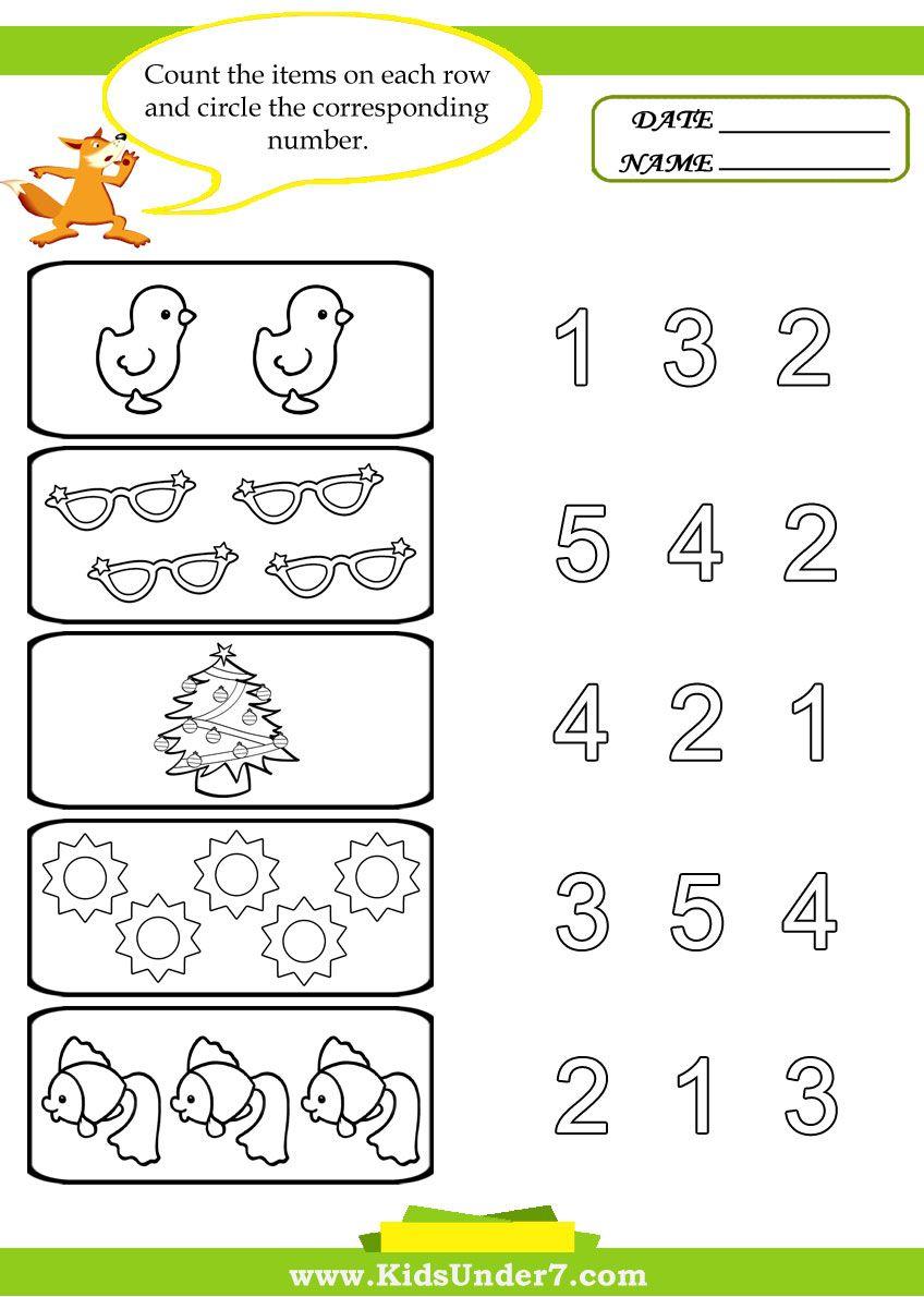 Preschool Worksheets   Kids Under 7: Preschool Counting Printables   Counting Printable Worksheets For Kindergarten