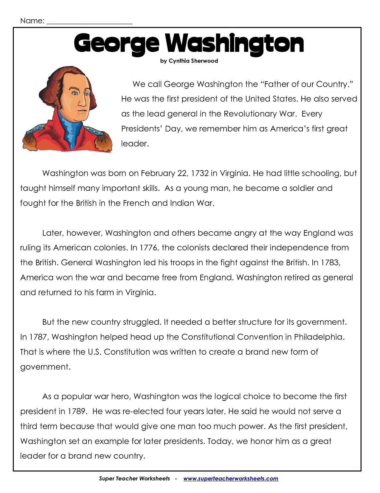 President's Day Coloring Worksheet | George Washington Worksheets | Free Printable George Washington Worksheets