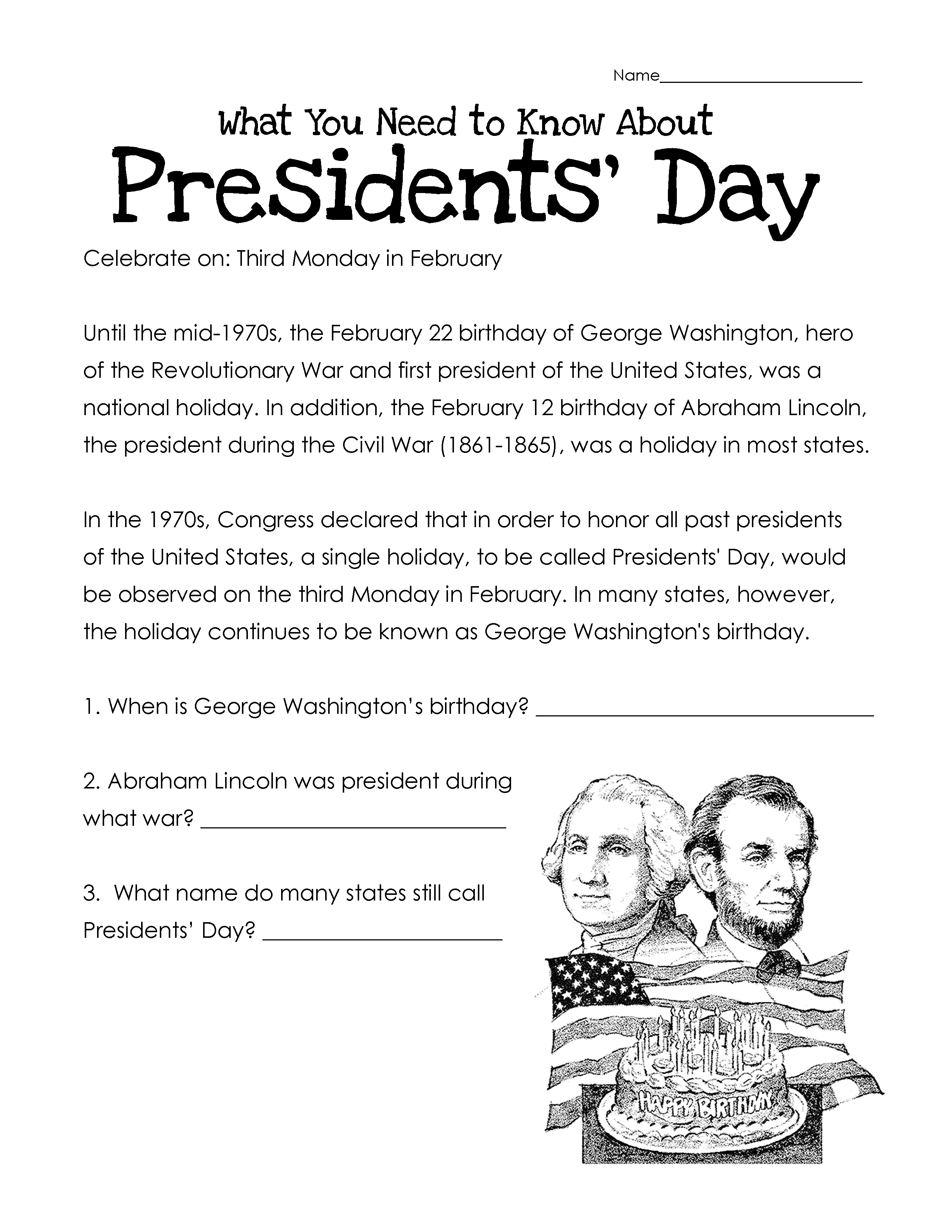 Presidents Day Worksheets - Best Coloring Pages For Kids | Free Printable Presidents Day Worksheets