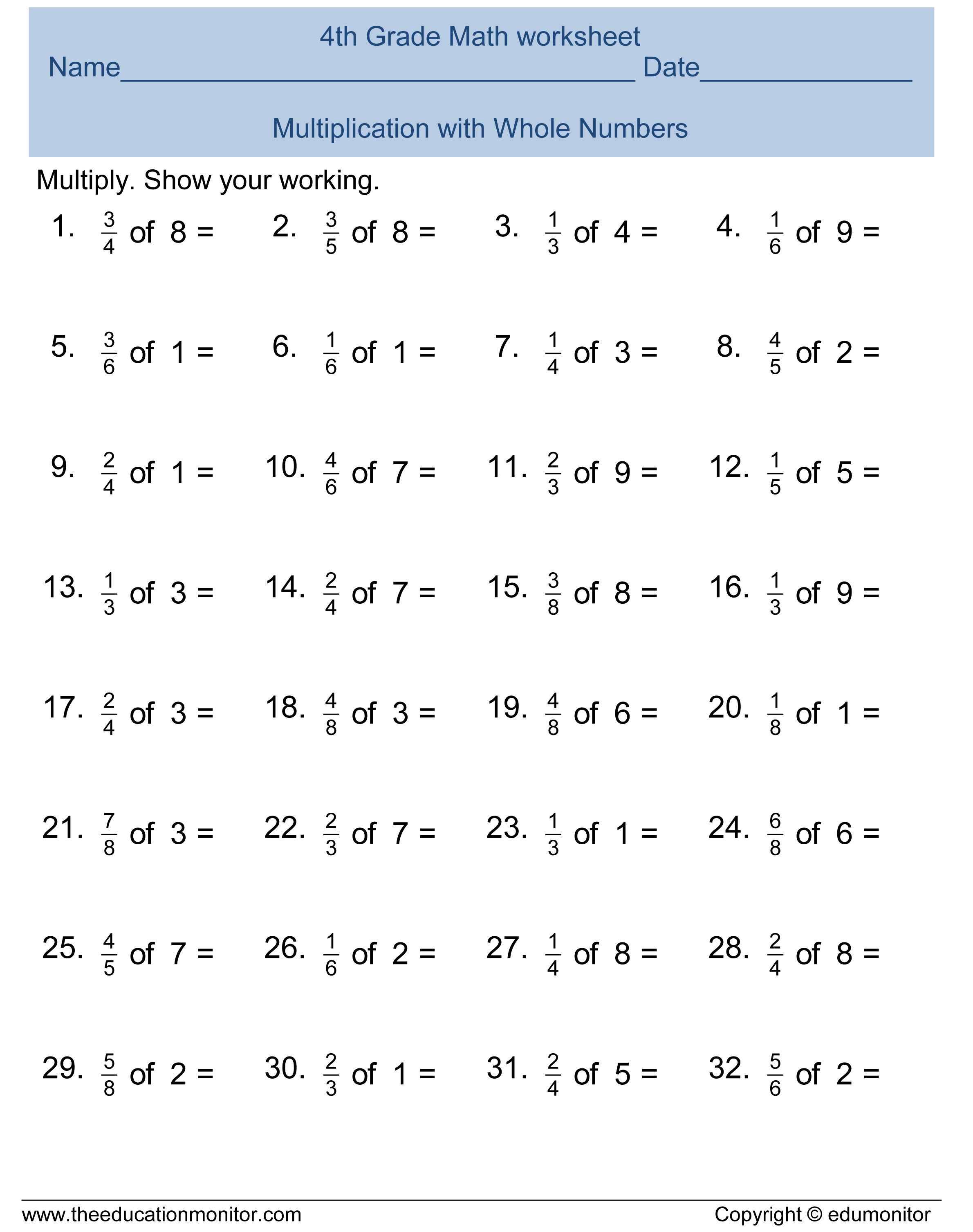 Printable 8Th Grade Math Worksheets Fourth Grade Math Worksheets | Free Printable Math Worksheets For 4Th Grade