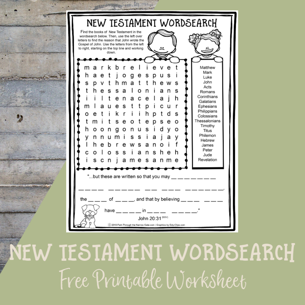 Printable Bible Activities Archives - Path Through The Narrow Gate | Books Of The Bible Printable Worksheets