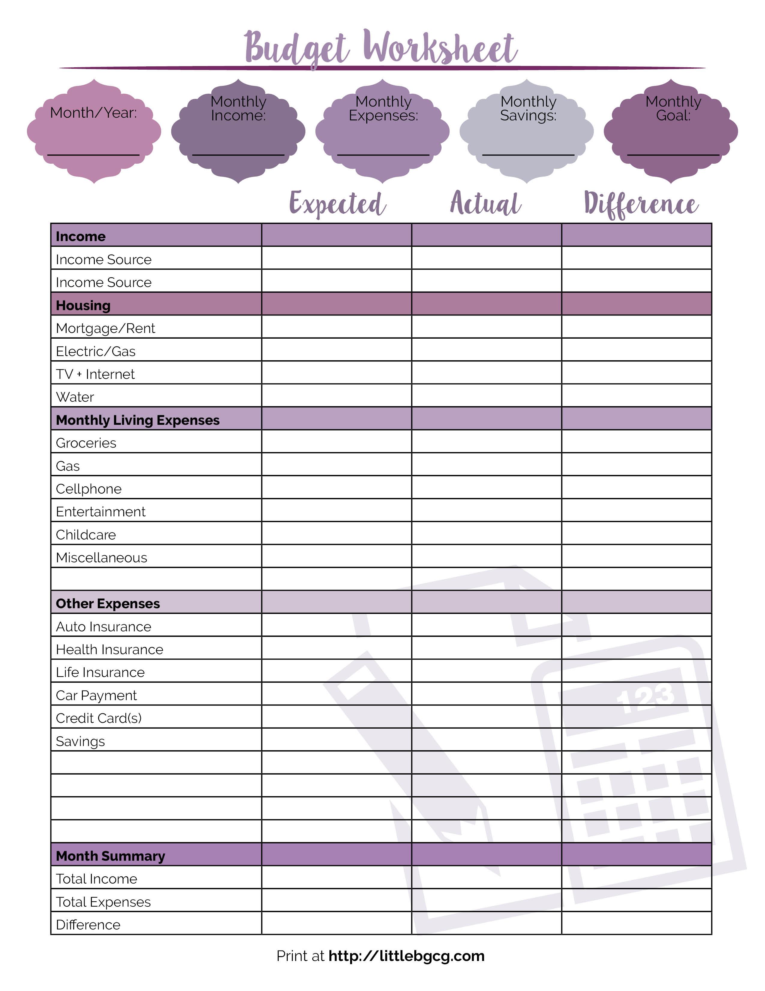 Printable Budget Worksheet - Little Us | Printable Budget Worksheet