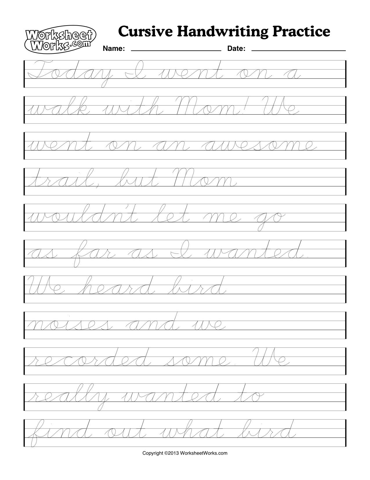 Printable Cursive Writing Paper - Koran.sticken.co | Printable Cursive Writing Worksheets