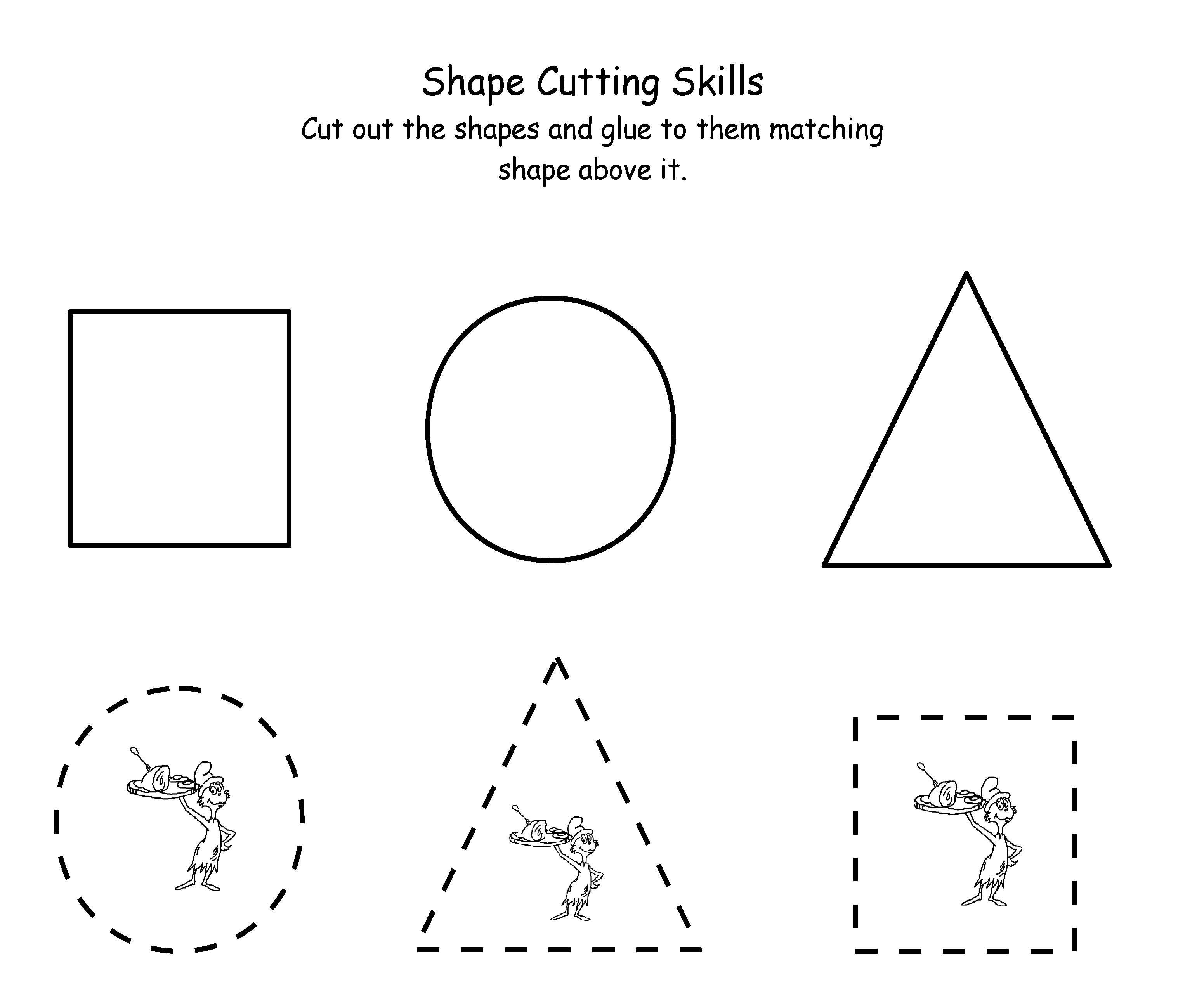 Printable Dr. Seuss Cutting | Maths | Dr Seuss Activities, Dr Seuss | Free Printable Dr Seuss Math Worksheets