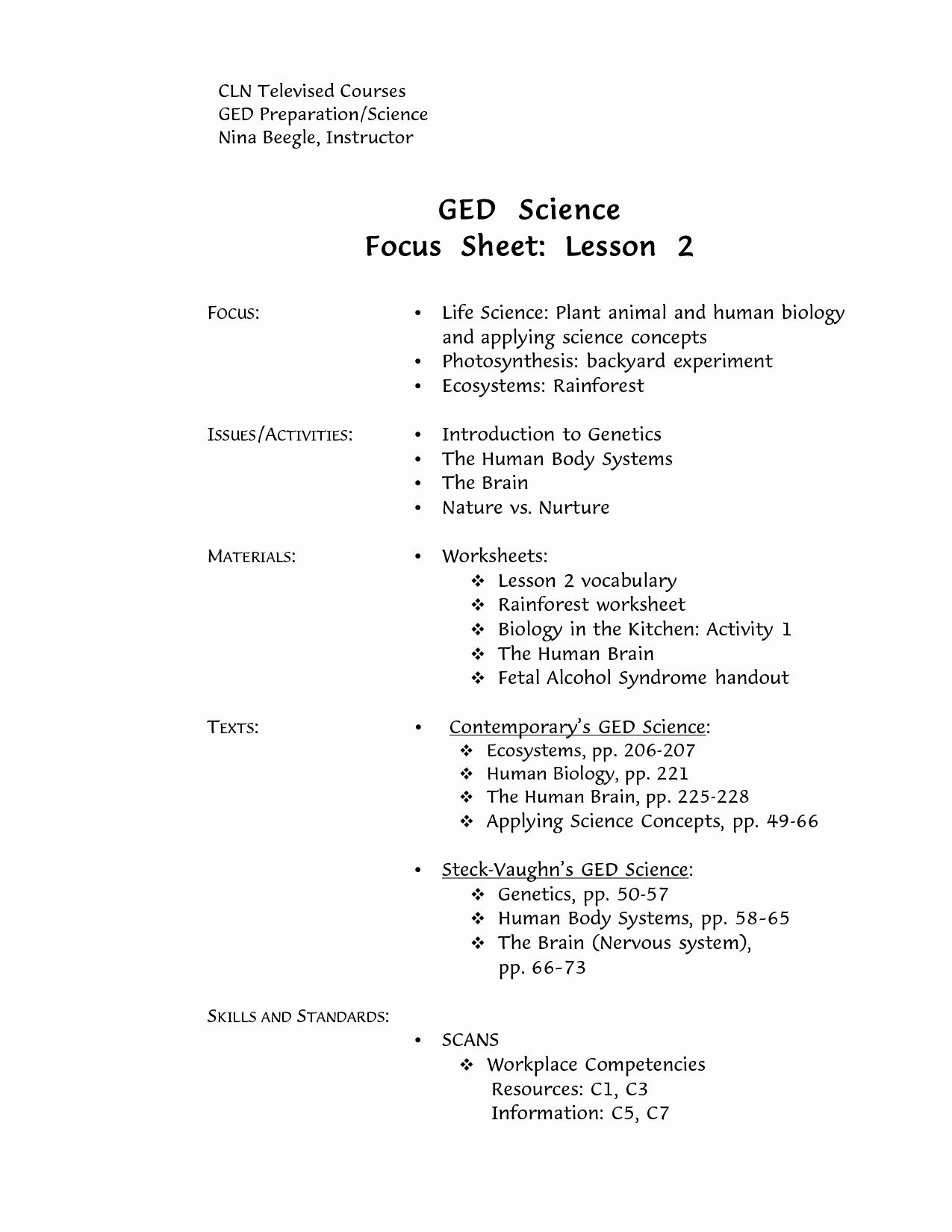 Printable Ged Practice Worksheets Pdf - Happy Living - Free | Free Printable Ged Science Worksheets