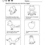 Printable Kindergarten Reading Worksheet   Free English Worksheet | Printable Kindergarten Worksheets