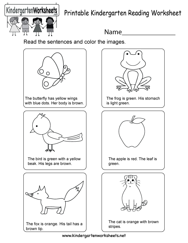 Printable Kindergarten Reading Worksheet - Free English Worksheet | Printable Kindergarten Worksheets