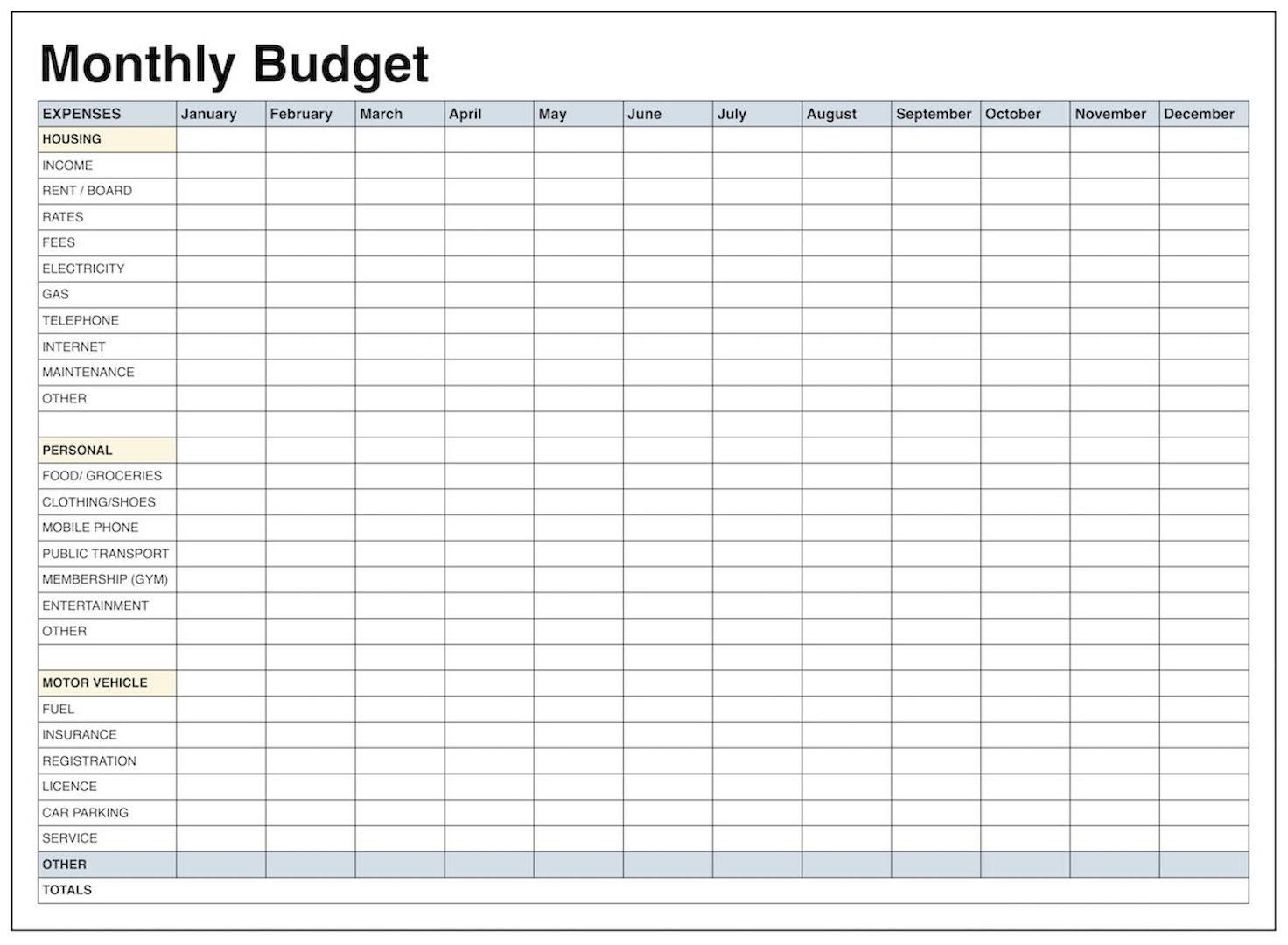 Printable Monthly Budget Worksheet Excel - Koran.sticken.co | Blank Budget Worksheet Printable