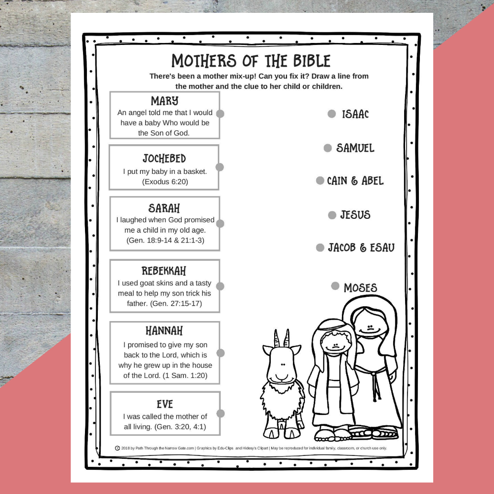Printable Mothers Of The Bible Worksheet - Path Through The Narrow Gate | Printable Worksheets Miracles Jesus