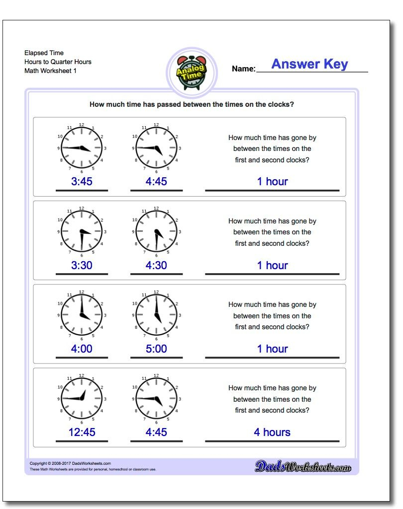 Printable Pdf Analog Elapsed Time Worksheets | Math Worksheets | Free Printable Elapsed Time Worksheets For Grade 3