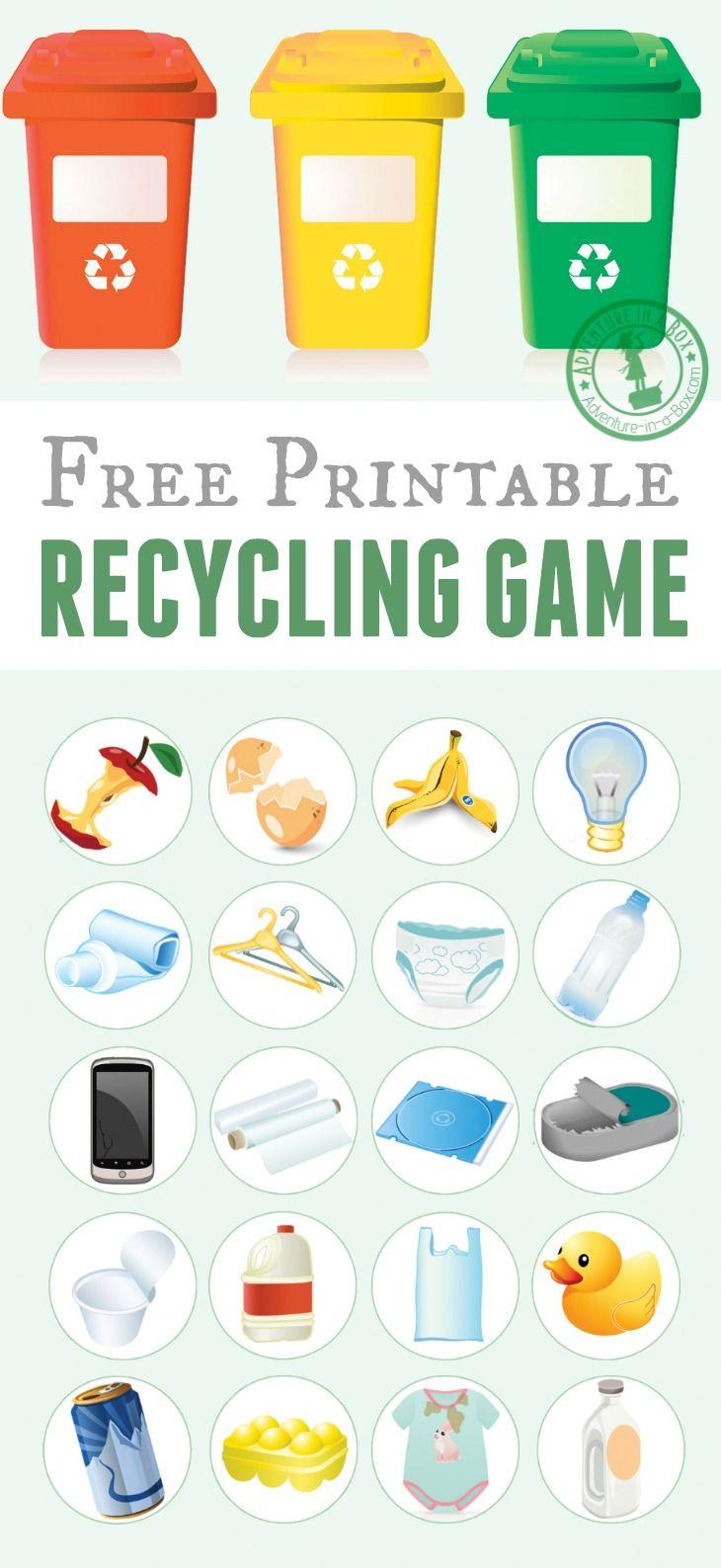 Printable Recycling Game | Free Printable Of The Day | Earth Day | Free Printable Recycling Worksheets