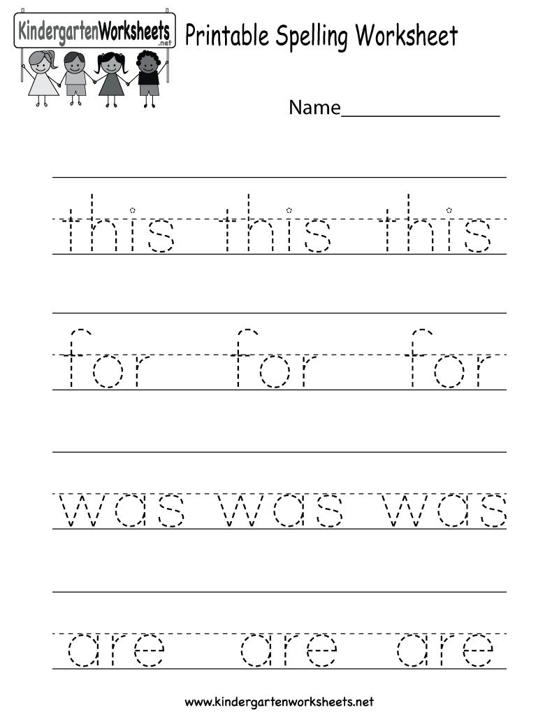 Printable Spelling Worksheet - Free Kindergarten English Worksheet | Free Printable Fall Worksheets Kindergarten