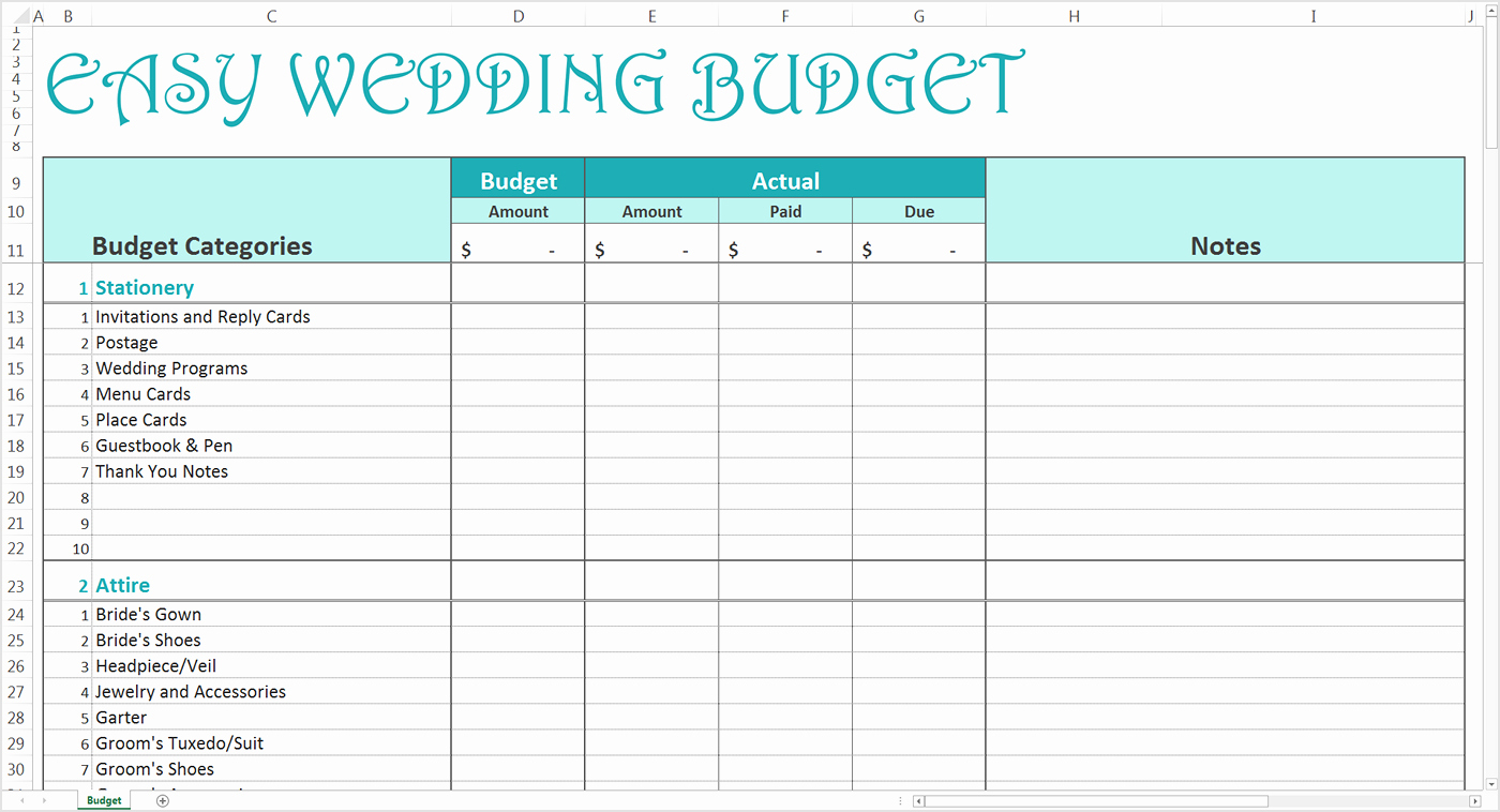 Printable Wedding Budget Spreadsheet Or Easy Wedding Bud Excel | Wedding Budget Worksheet Printable