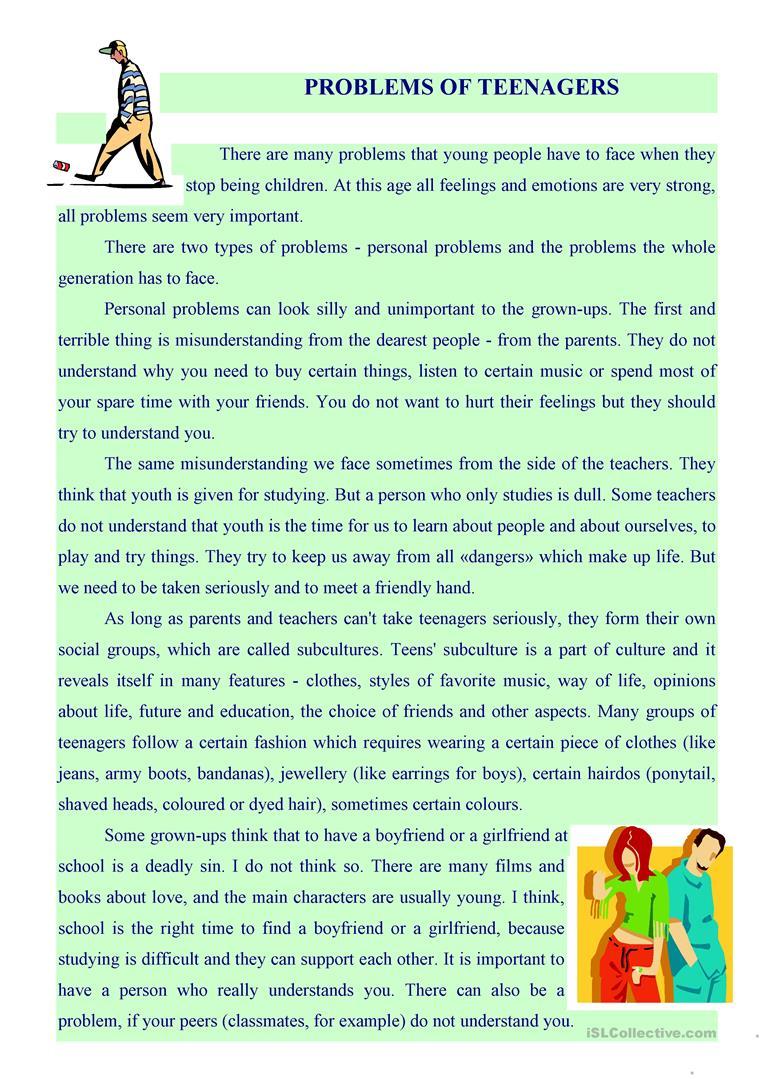 Problems Of Teenagers Worksheet - Free Esl Printable Worksheets Made | Printable Worksheets For Teens
