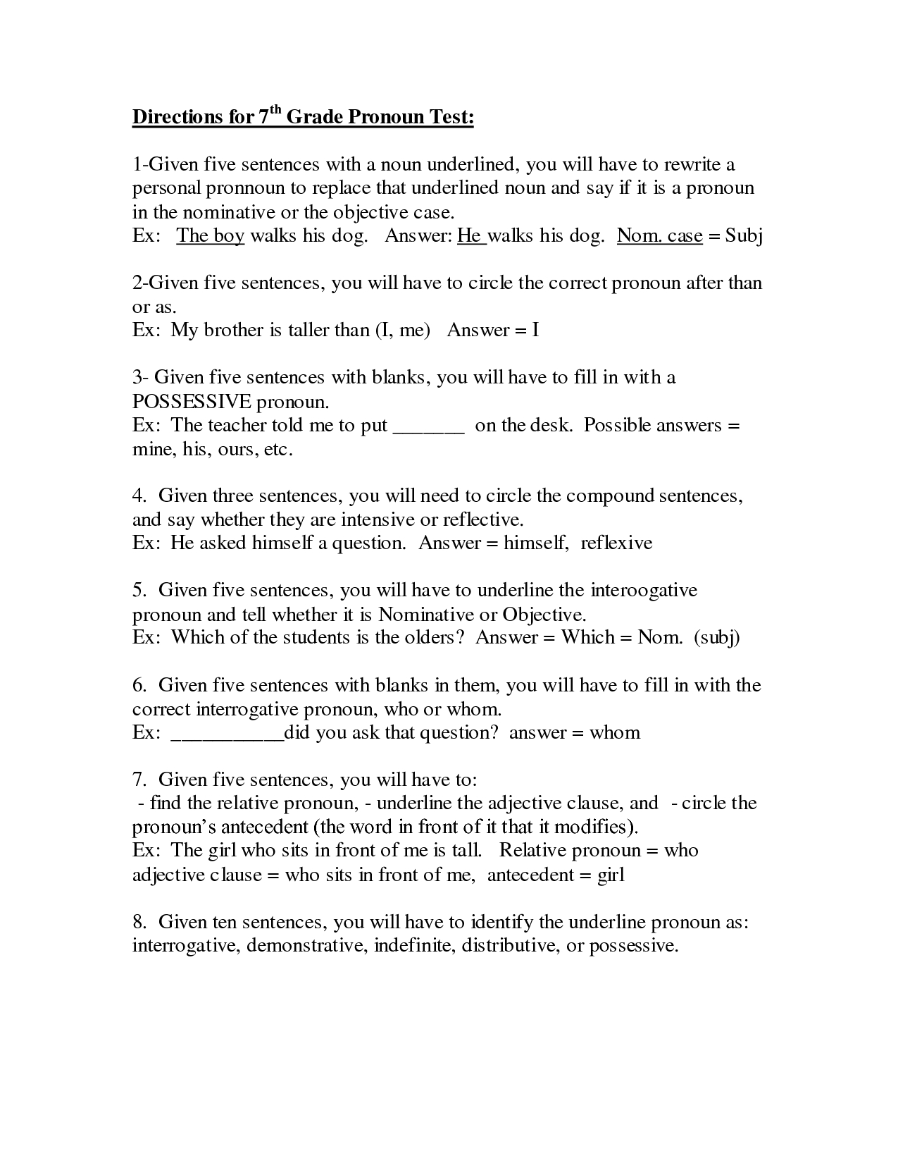 Pronoun Worksheets Middle School - Siteraven | Printable English Worksheets For Middle School