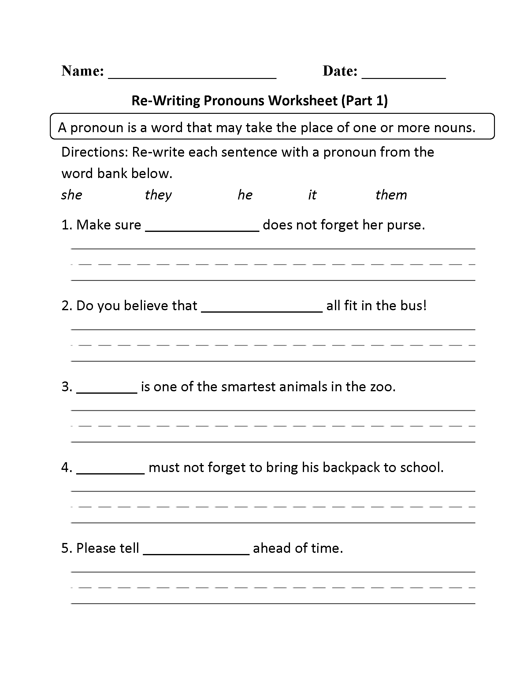 Pronouns Worksheets | Regular Pronouns Worksheets | Free Printable Pronoun Worksheets For 2Nd Grade
