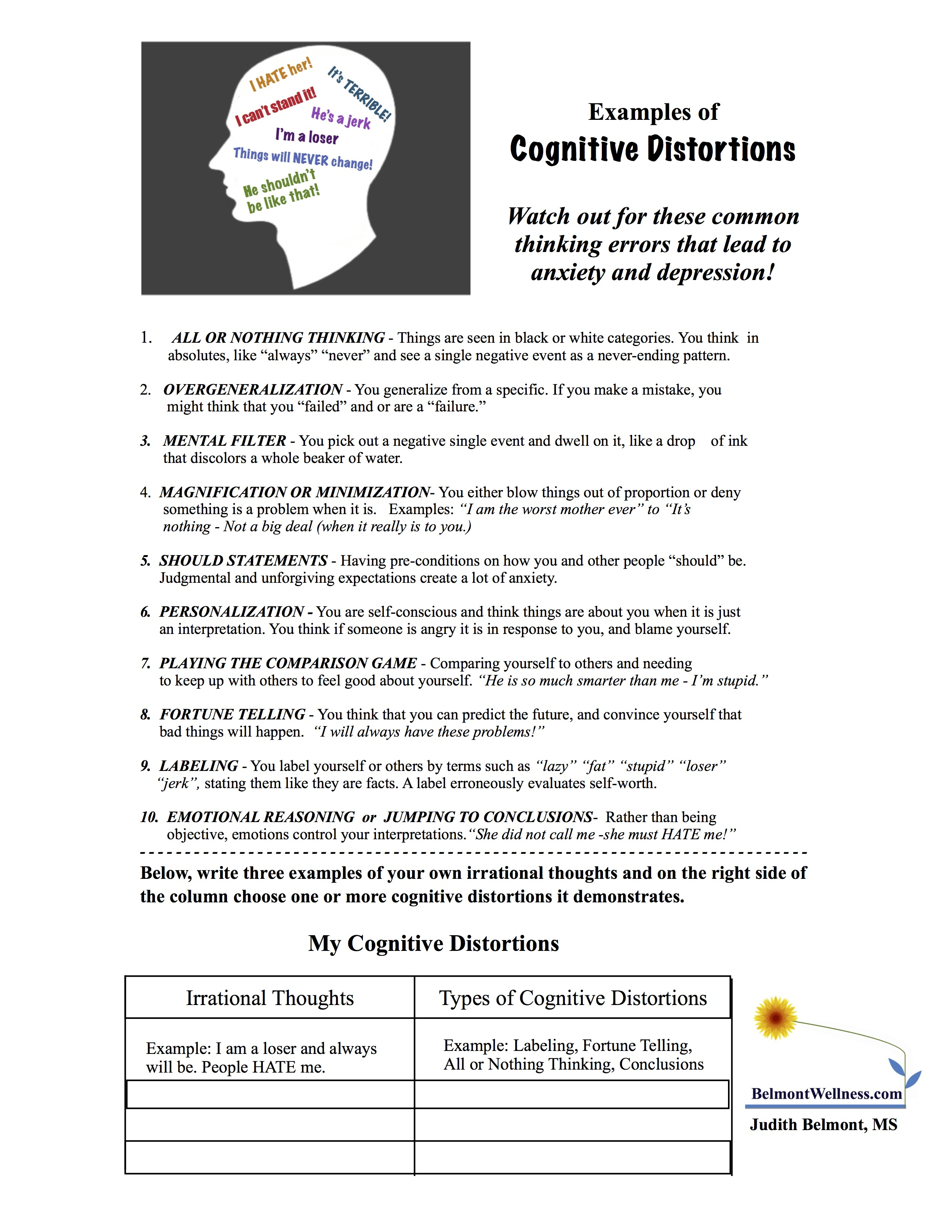 Psycho-Educational And Mental Health Worksheets And Handouts | Printable Mental Health Worksheets