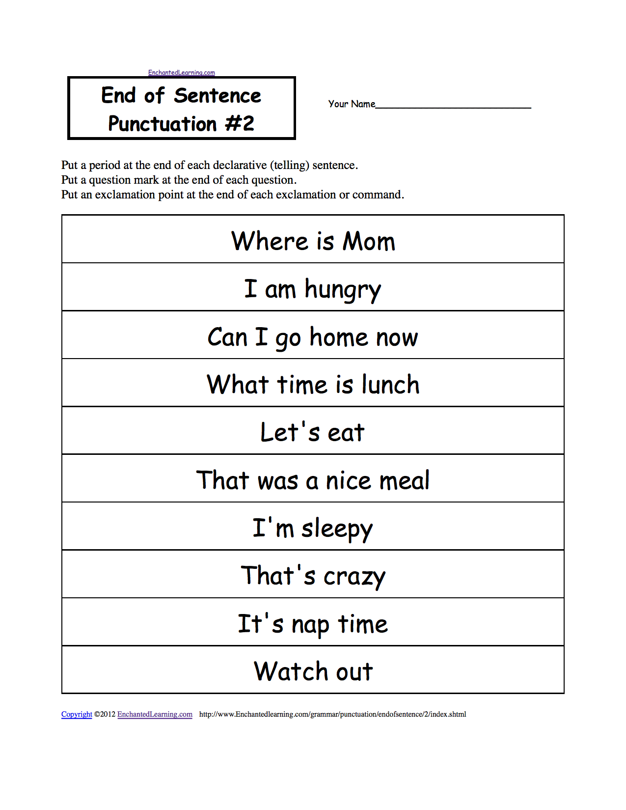 Punctuation Marks: Enchantedlearning   Free Printable Punctuation Worksheets For Middle School