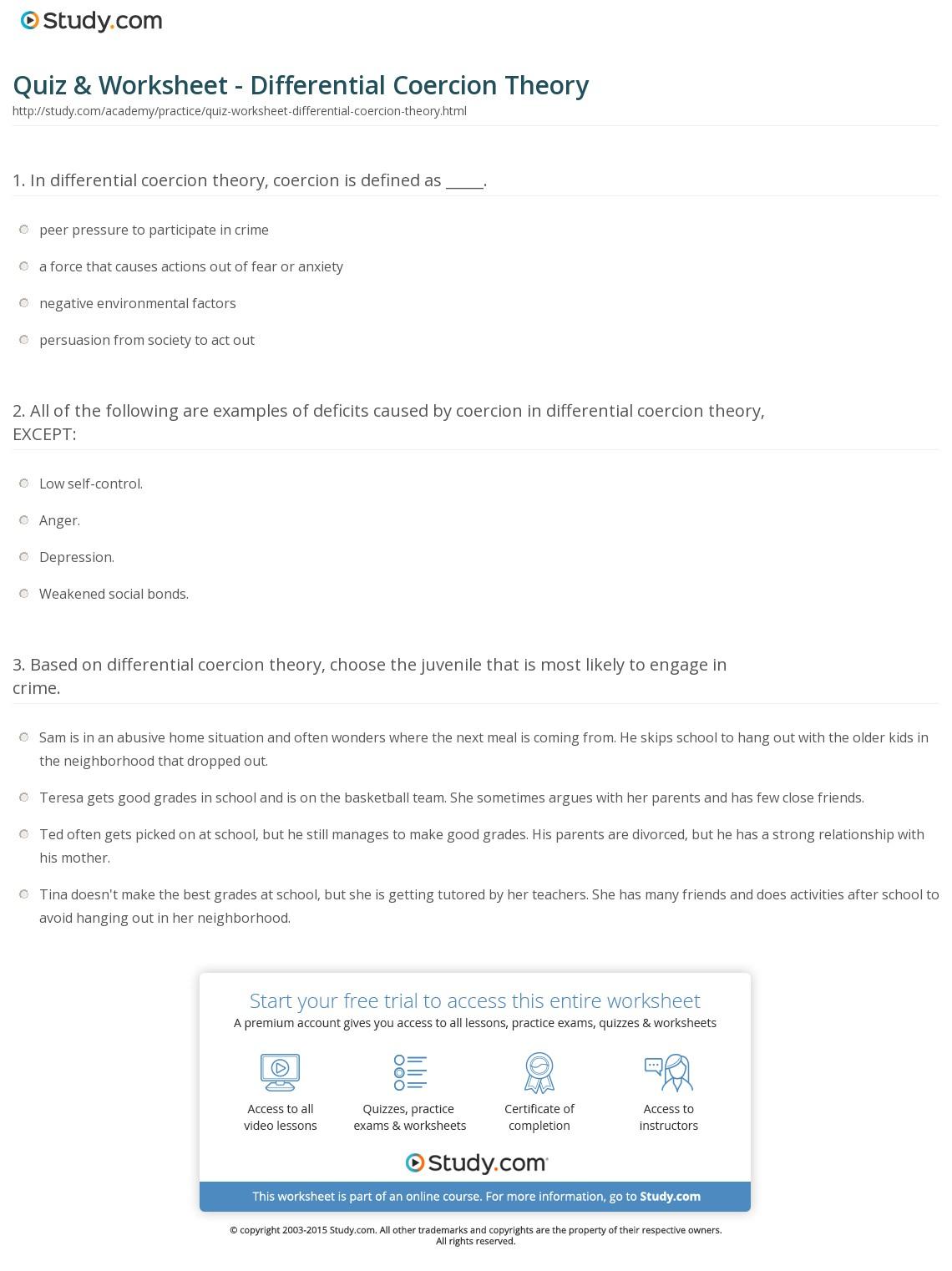 Quiz & Worksheet - Differential Coercion Theory | Study | Restorative Justice Printable Worksheets