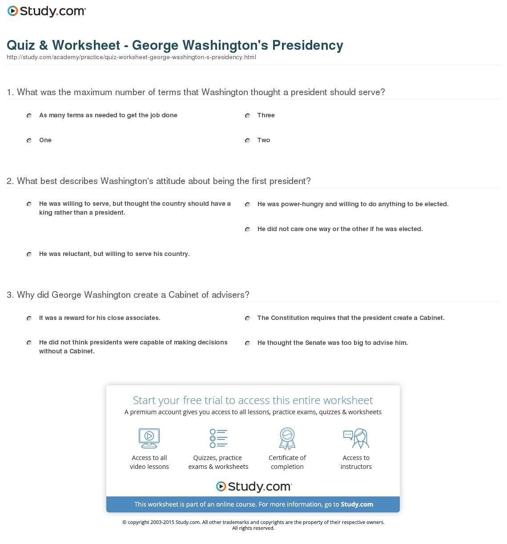 Quiz & Worksheet - George Washington's Presidency | Study | George Washington Printable Worksheets