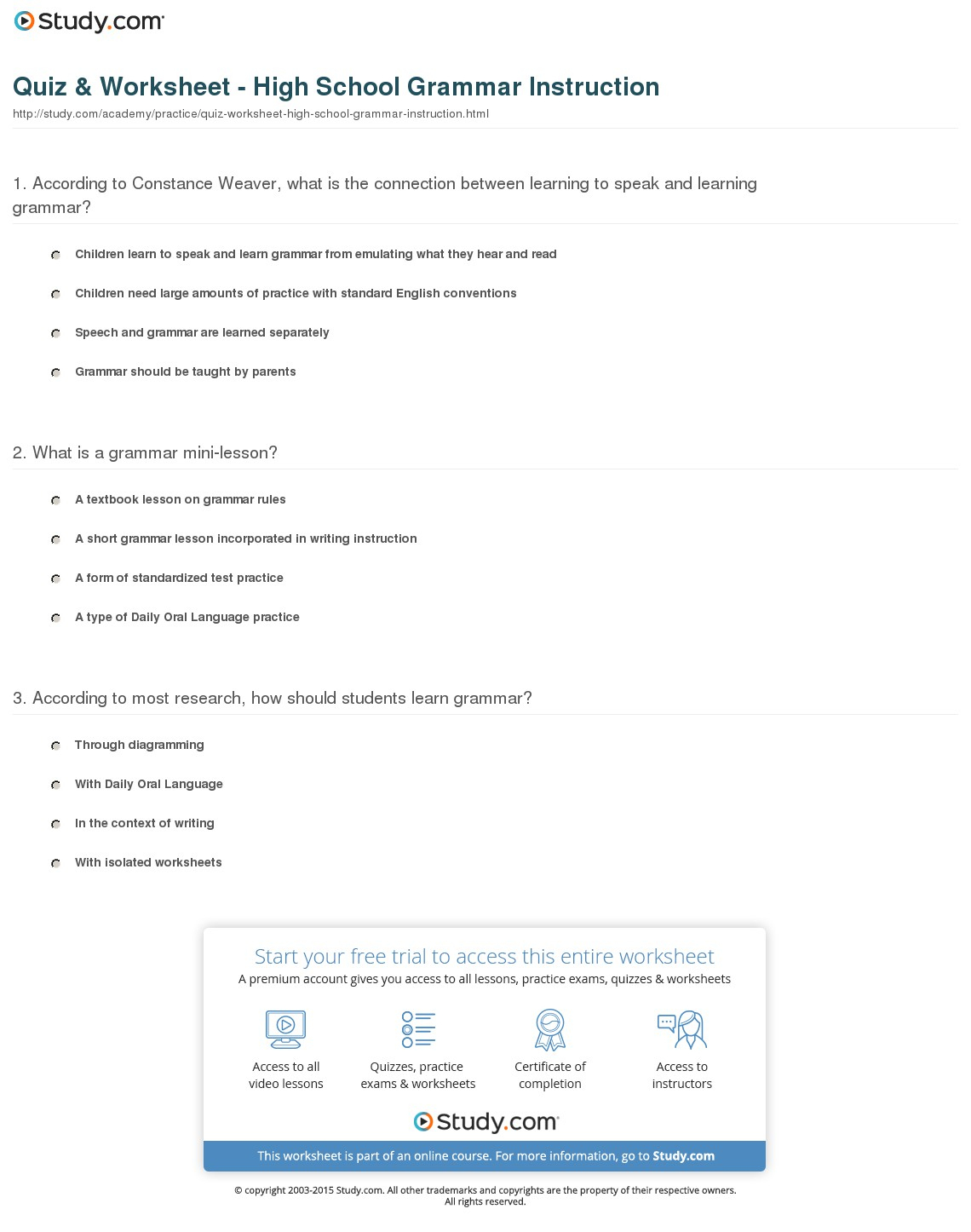 Quiz & Worksheet - High School Grammar Instruction | Study | Grammar Worksheets High School Printables