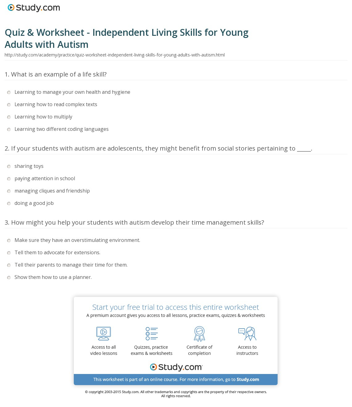 Quiz & Worksheet - Independent Living Skills For Young Adults With | Free Printable Independent Life Skills Worksheets