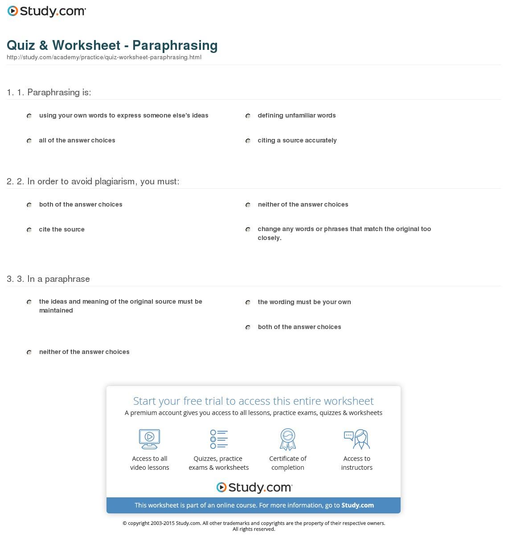 Quiz & Worksheet - Paraphrasing   Study   Printable Paraphrase Practice Worksheet