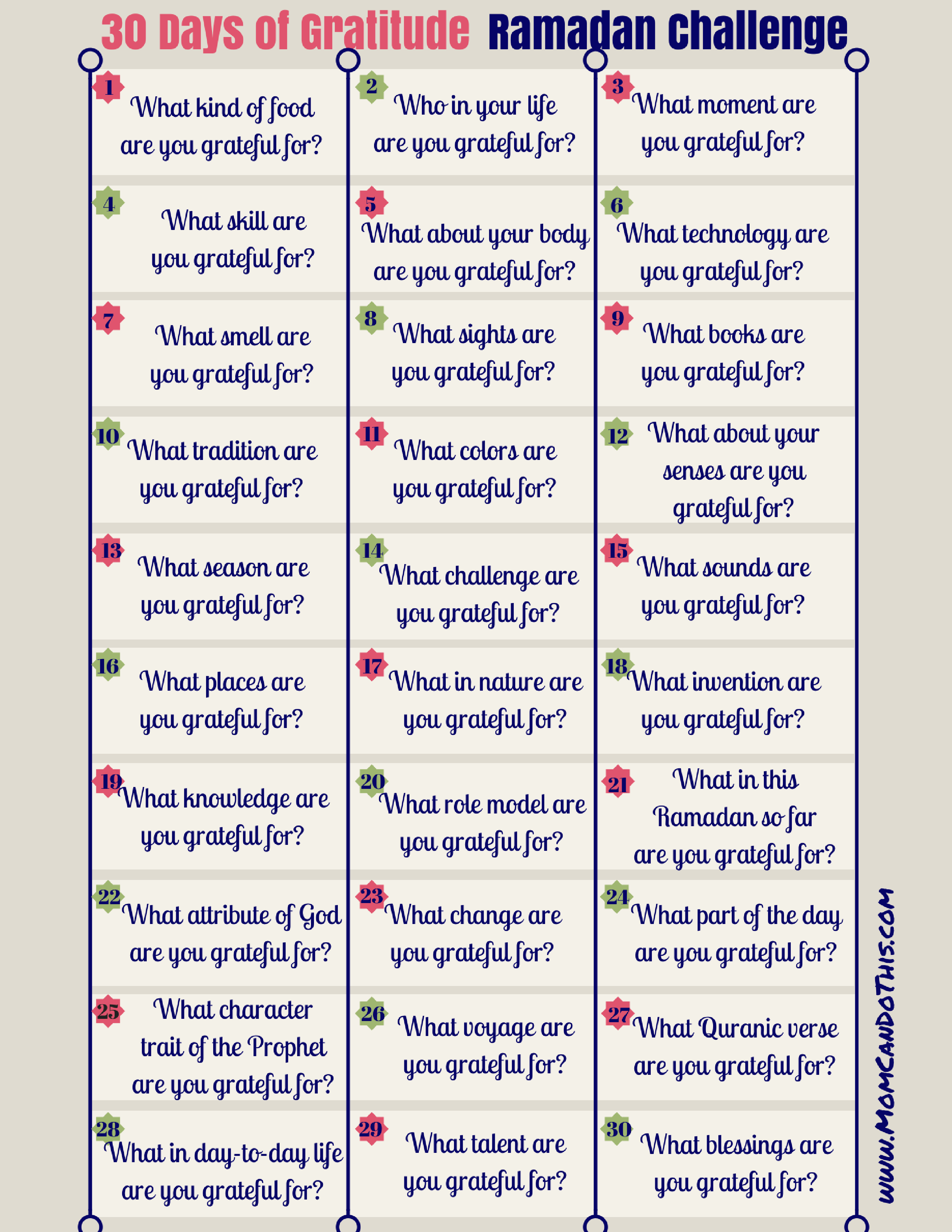 Ramadan Gratitude Challenge - 30 Day Challenge. Make Ramadan Count! | Free Printable Gratitude Worksheets