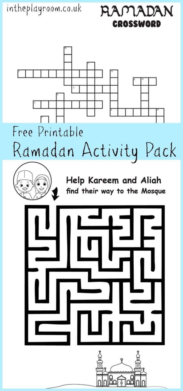 Ramadan Maze And Crossword Printable Activities - In The Playroom   Ramadan Worksheets Printables