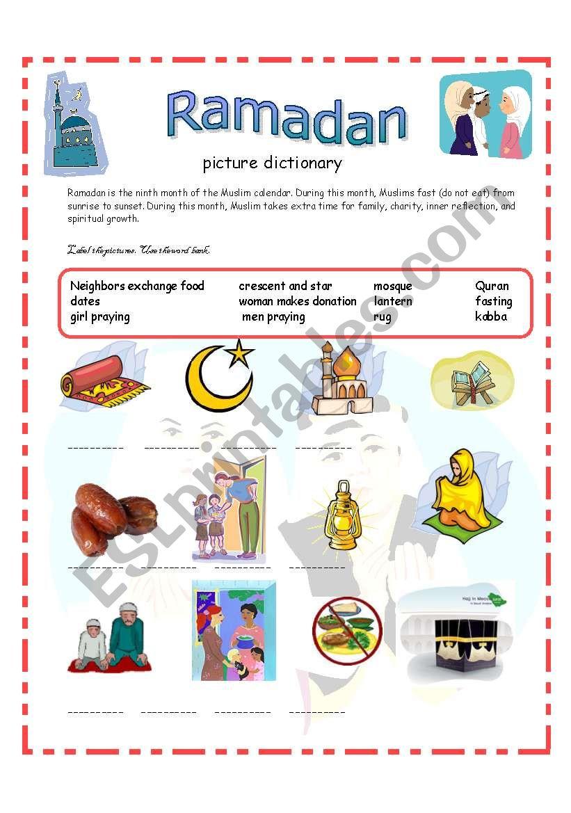 Ramadan Picture Dictionary 13-09-08 - Esl Worksheetazza_20   Ramadan Worksheets Printables