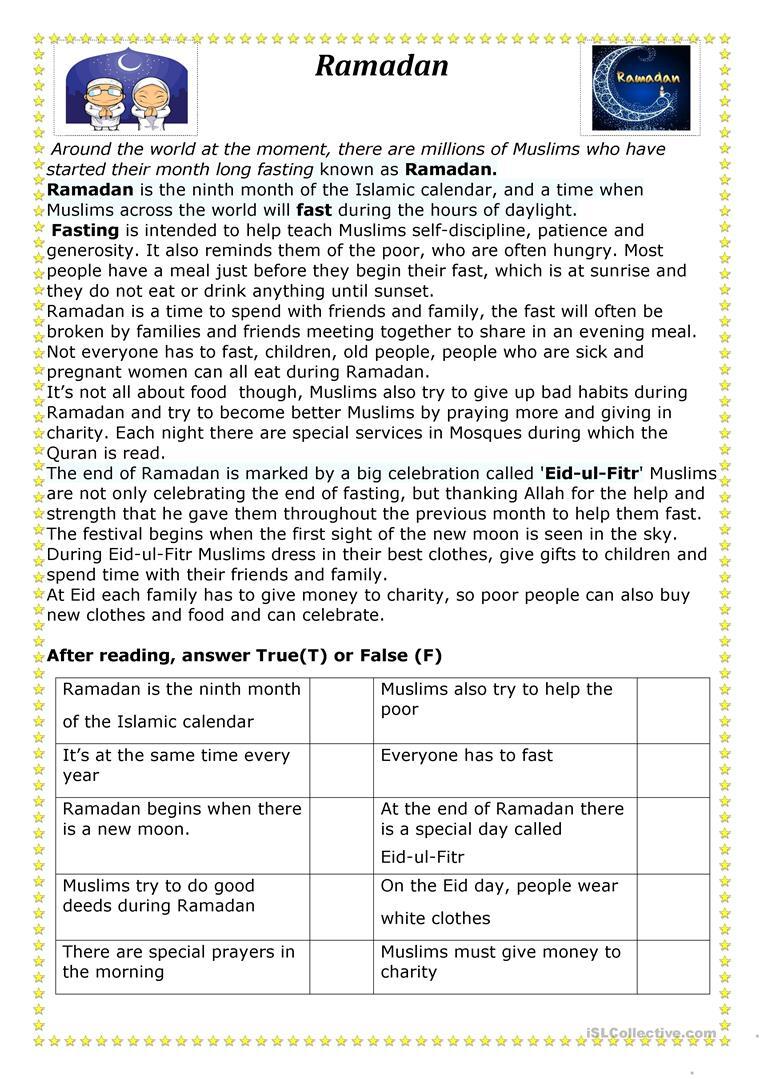 Ramadan Worksheet - Free Esl Printable Worksheets Madeteachers   Ramadan Worksheets Printables