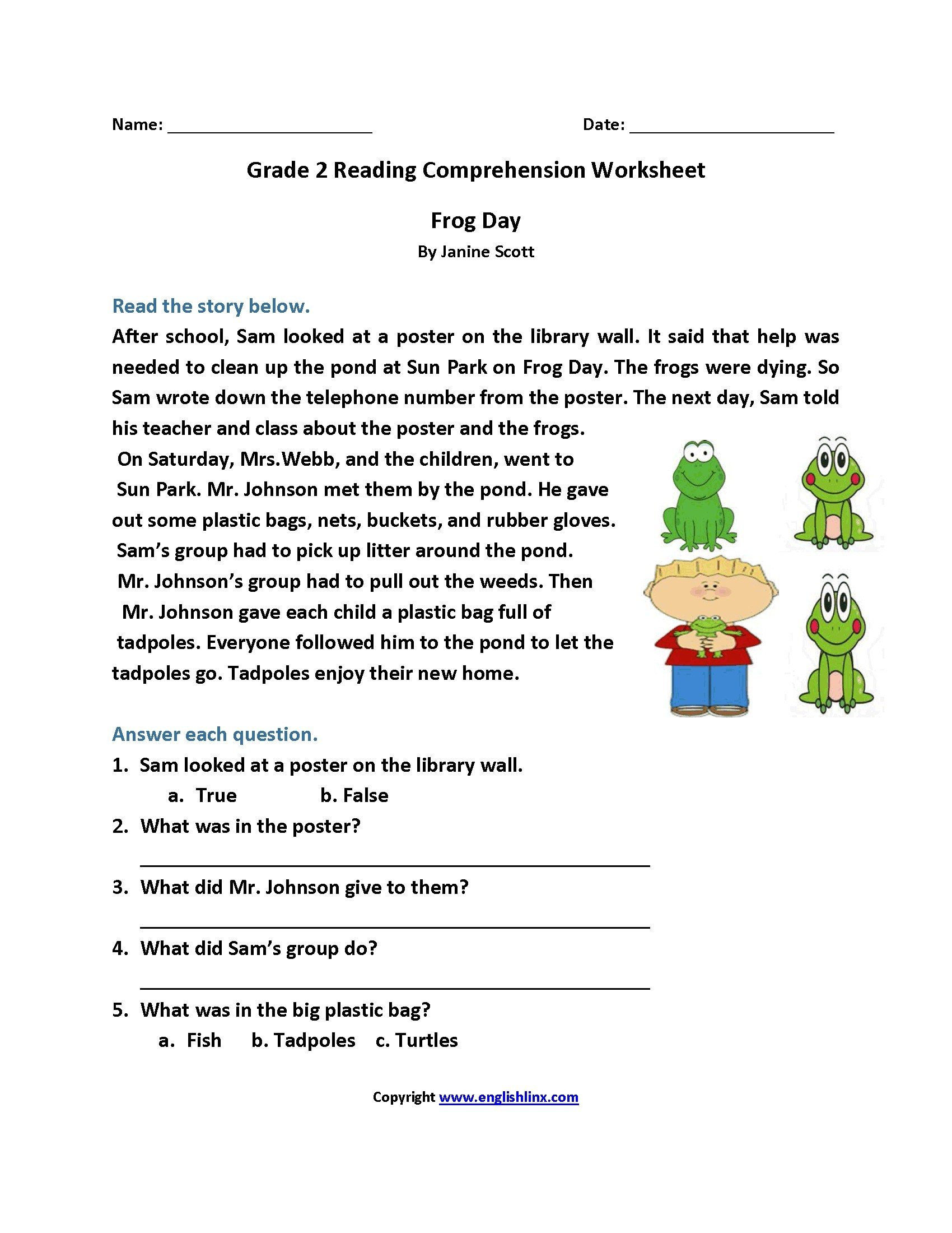 Reading Comprehension Practice Questions - Comprehension Passages | Free Printable Reading Comprehension Worksheets Grade 5
