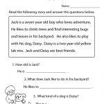 Reading Comprehension Practice Worksheet Printable   Language   Free   Free Printable Reading Comprehension Worksheets