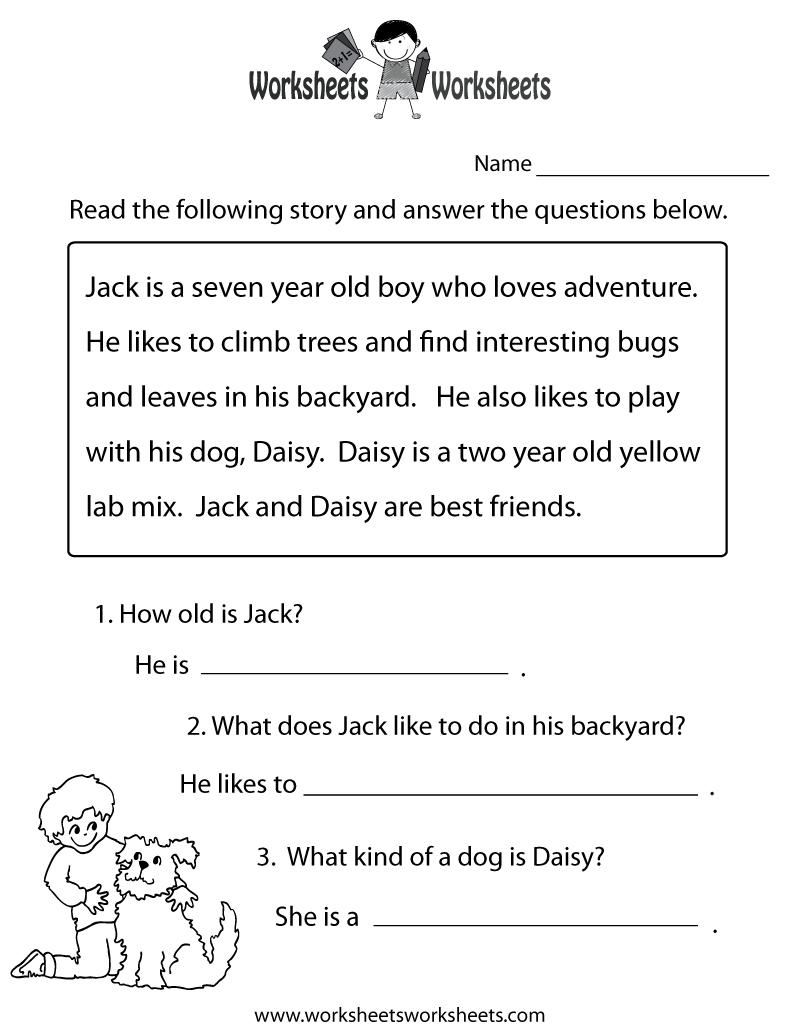 Reading Comprehension Practice Worksheet Printable | Language | Free | Printable Reading Comprehension Worksheets